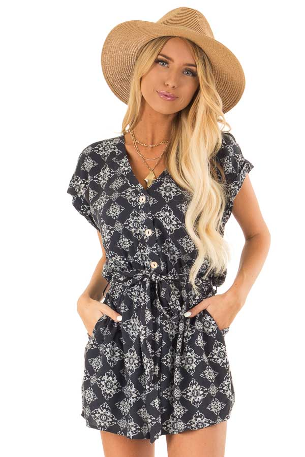 Midnight Button Up Moroccan Print Romper with Waist Tie front close up