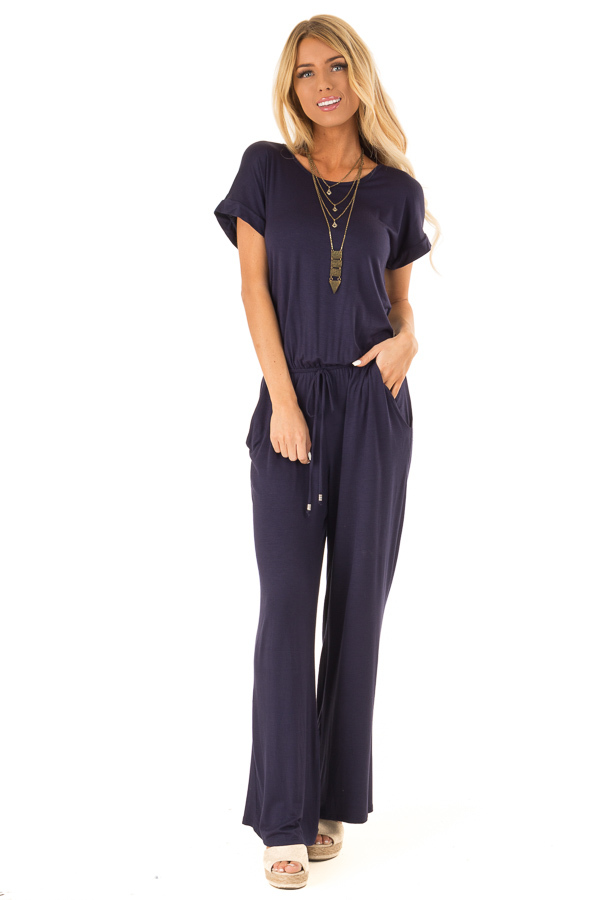 Deep Navy Short Sleeve Jumpsuit with Waist Tie and Pockets front full body