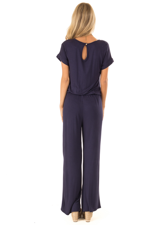 Deep Navy Short Sleeve Jumpsuit with Waist Tie and Pockets back full body