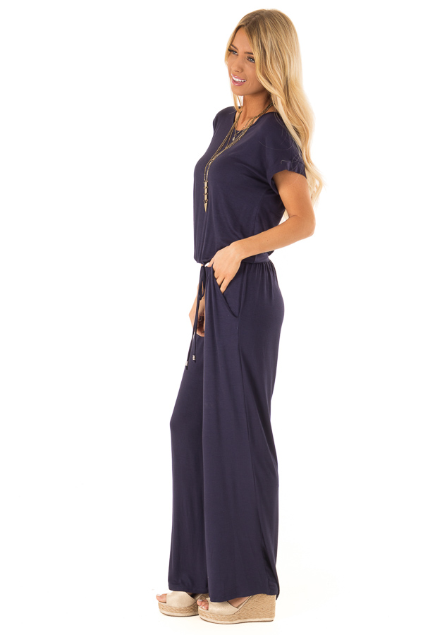 Deep Navy Short Sleeve Jumpsuit with Waist Tie and Pockets side full body