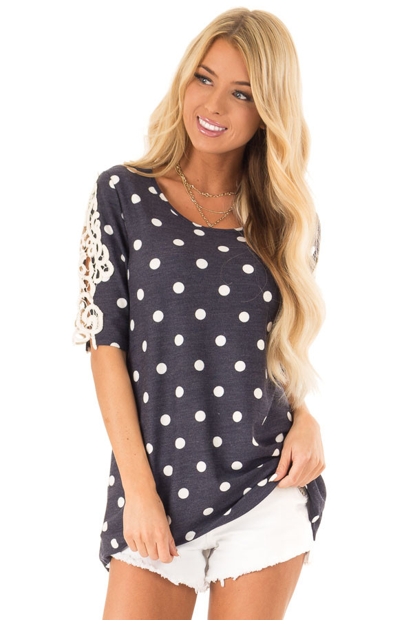 Navy and White Polka Dot Top with Sheer Lace Half Sleeves front close up