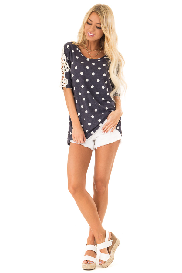 Navy and White Polka Dot Top with Sheer Lace Half Sleeves front full body