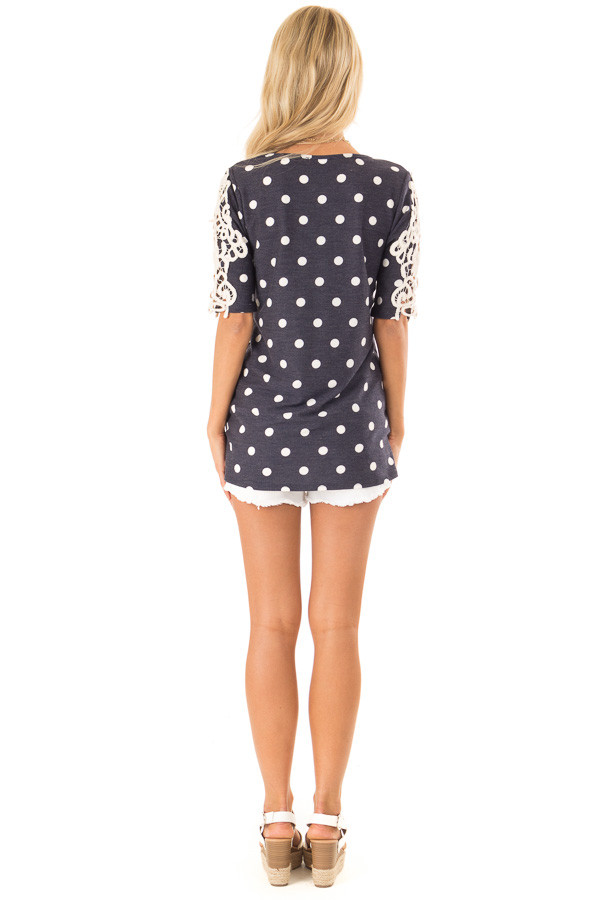 Navy and White Polka Dot Top with Sheer Lace Half Sleeves back full body