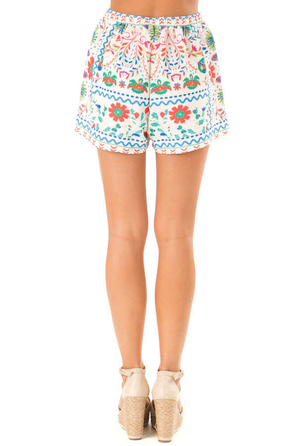 Ivory Shorts with Multi Color Floral Print and Front Tie back view