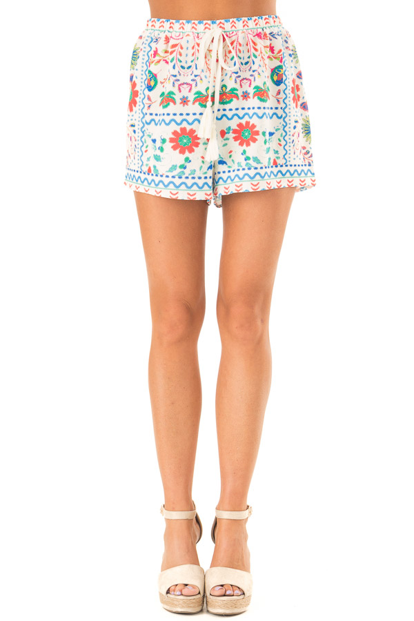 Ivory Shorts with Multi Color Floral Print and Front Tie front view