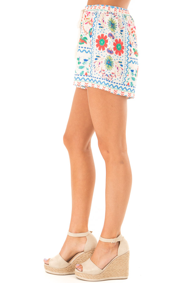 Ivory Shorts with Multi Color Floral Print and Front Tie side view