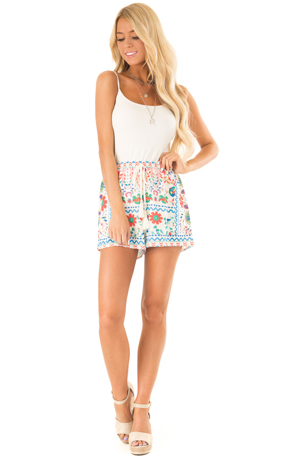 Ivory Shorts with Multi Color Floral Print and Front Tie front full body