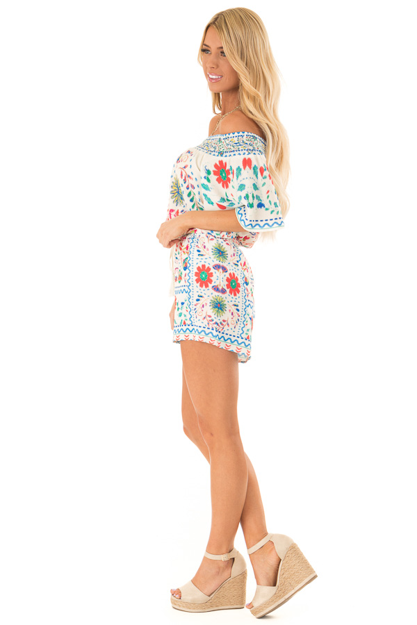 Ivory Off the Shoulder Top with Multi Color Floral Print side full body