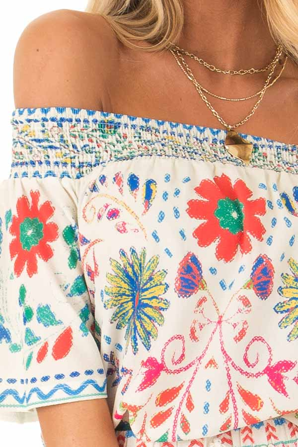 Ivory Off the Shoulder Top with Multi Color Floral Print detail