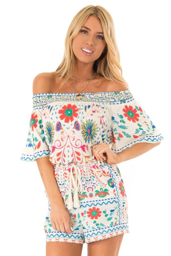 Ivory Off the Shoulder Top with Multi Color Floral Print front close up