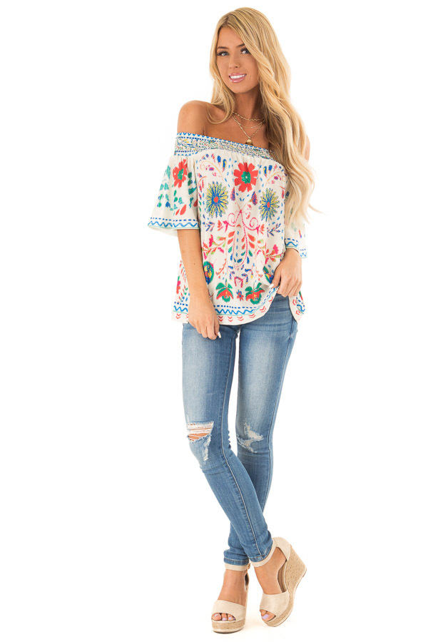 Ivory Off the Shoulder Top with Multi Color Floral Print front full body