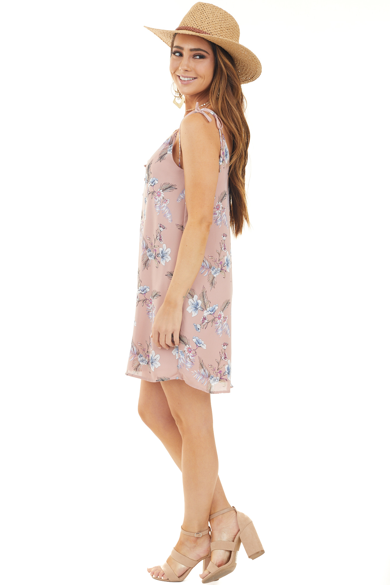 Mauve Floral Print Button Down Spaghetti Strap Dress