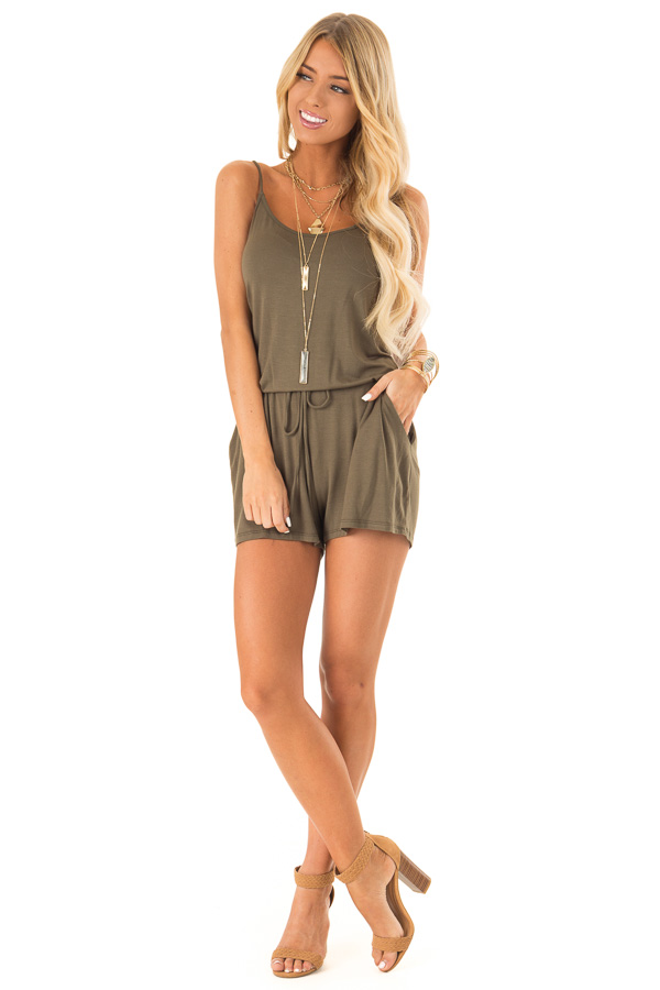 Olive Sleeveless Romper with Front Tie and Pockets front full body
