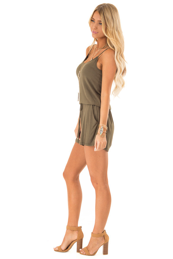 Olive Sleeveless Romper with Front Tie and Pockets side full body