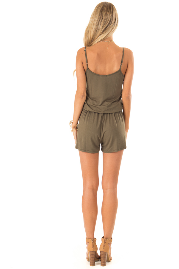Olive Sleeveless Romper with Front Tie and Pockets back full body