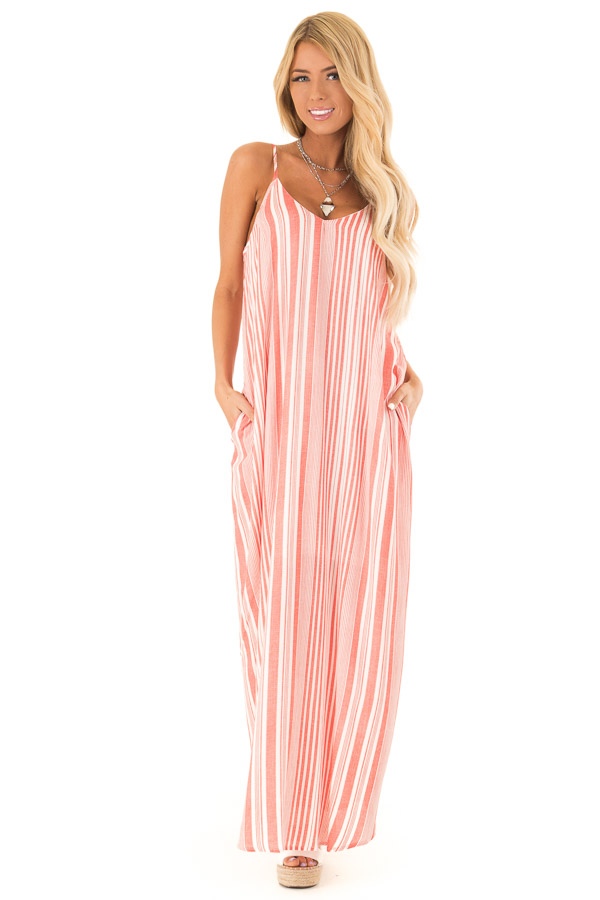 Coral and Ivory Striped Flowy Maxi Dress with Pockets front full body