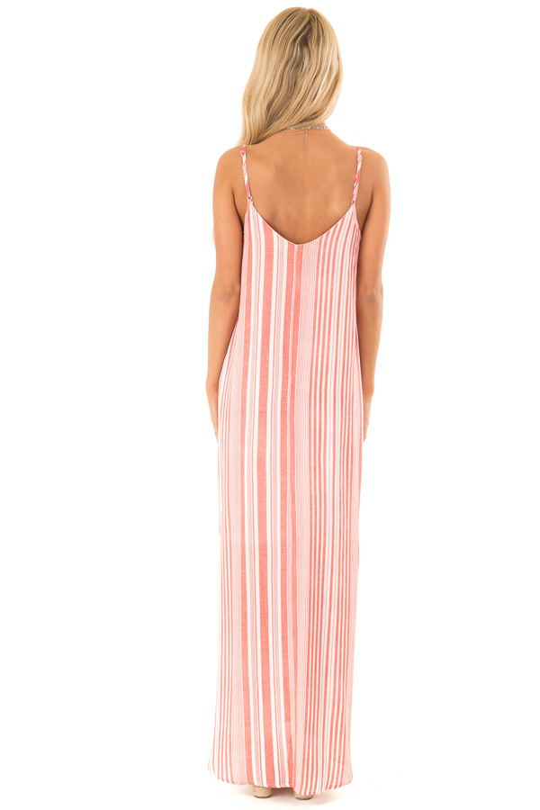 Coral and Ivory Striped Flowy Maxi Dress with Pockets back full body