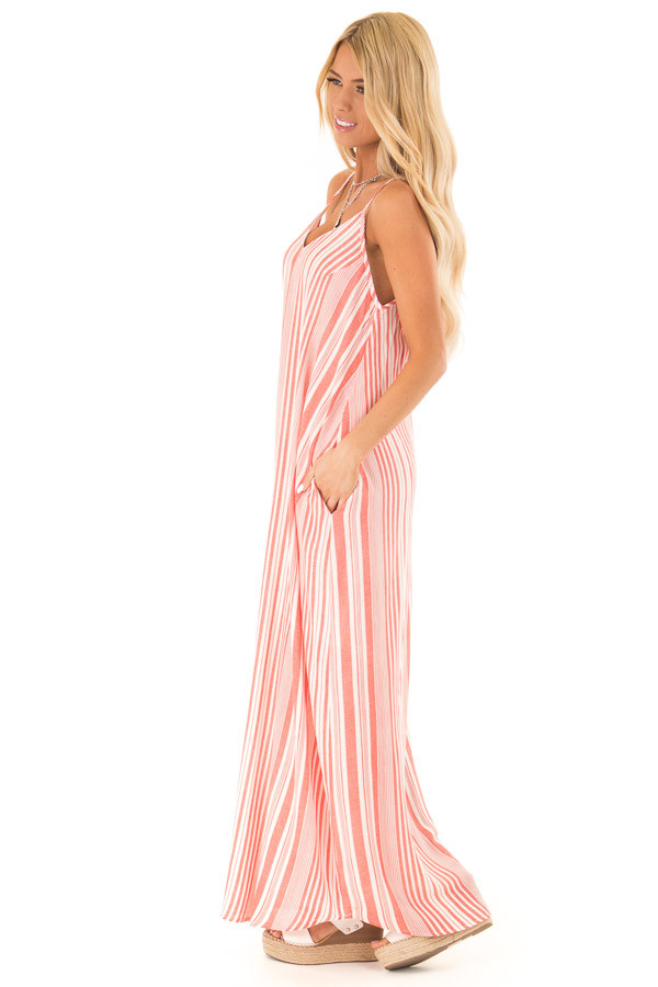 Coral and Ivory Striped Flowy Maxi Dress with Pockets side full body