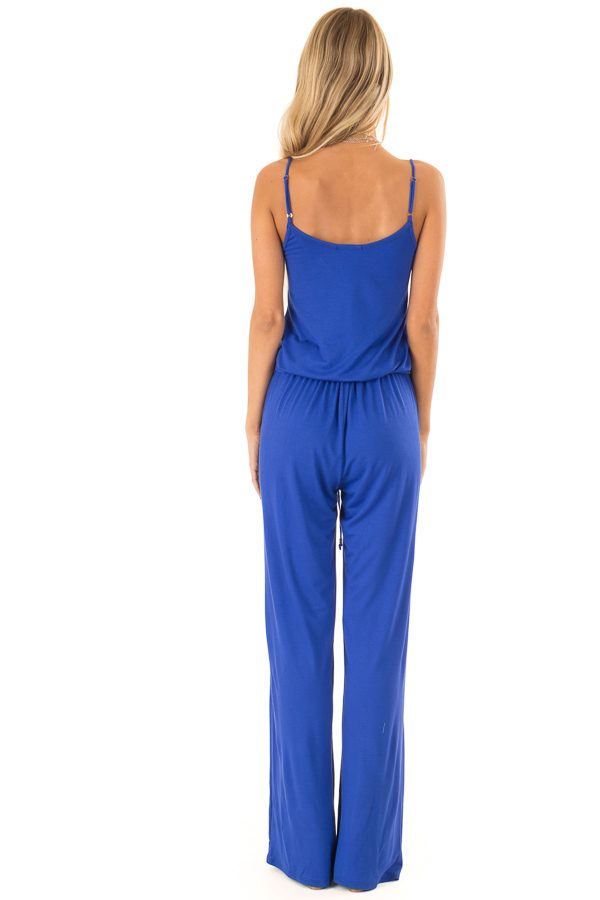 Royal Blue Sleeveless Jumpsuit with Waist Tie and Pockets back full body
