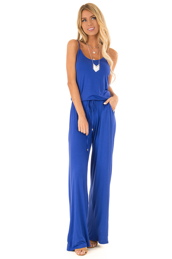Royal Blue Sleeveless Jumpsuit with Waist Tie and Pockets front full body