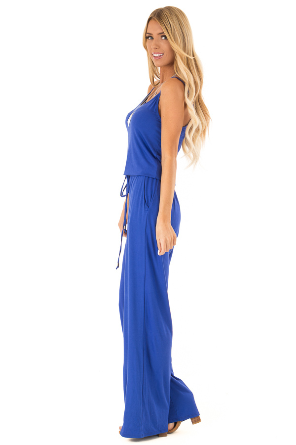 Royal Blue Sleeveless Jumpsuit with Waist Tie and Pockets side full body