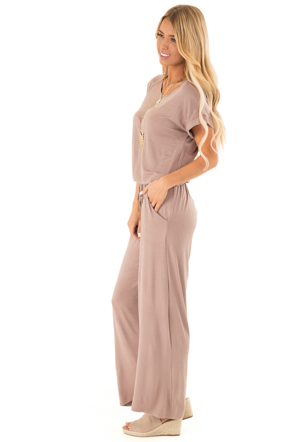 Mocha Short Sleeve Jumpsuit with Waist Tie and Pockets side full body