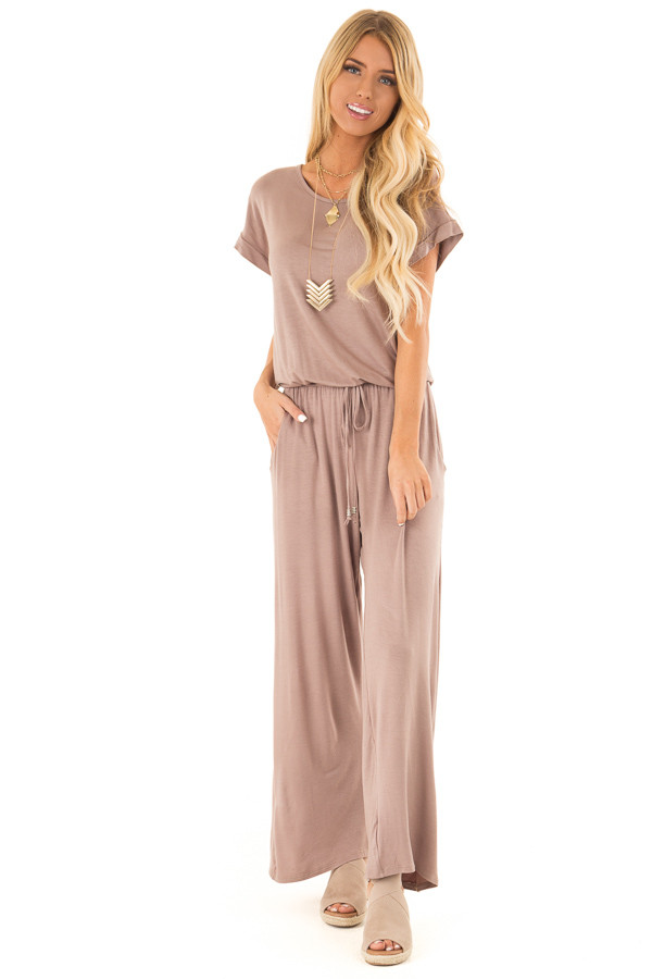 Mocha Short Sleeve Jumpsuit with Waist Tie and Pockets front full body