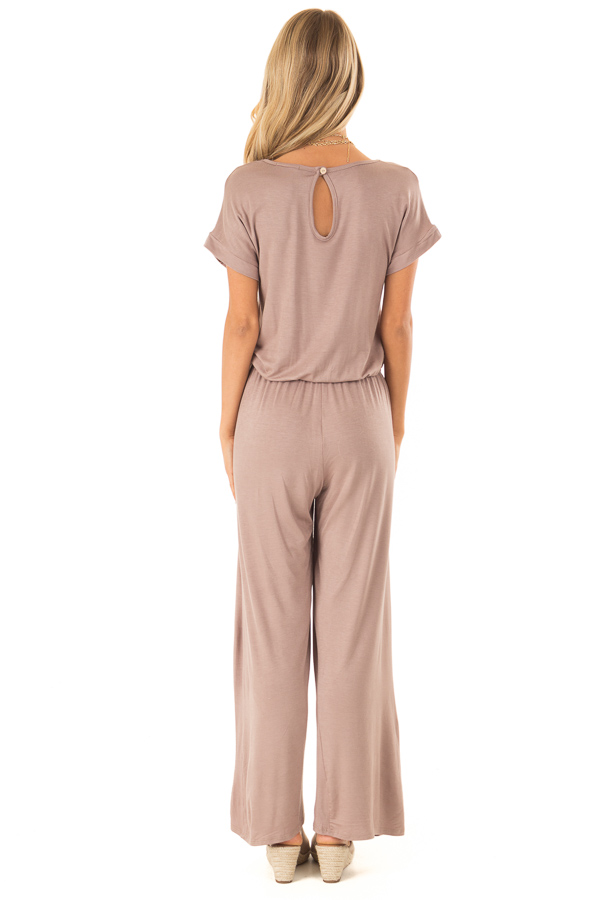 Mocha Short Sleeve Jumpsuit with Waist Tie and Pockets back full body