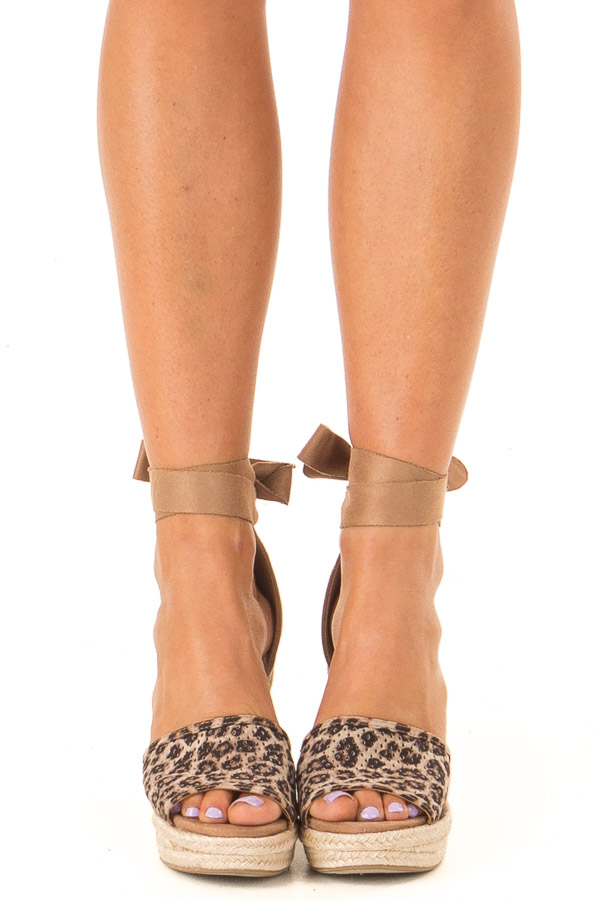 Sepia Leopard Print Suede Wedge with Braided Heel Detail front view