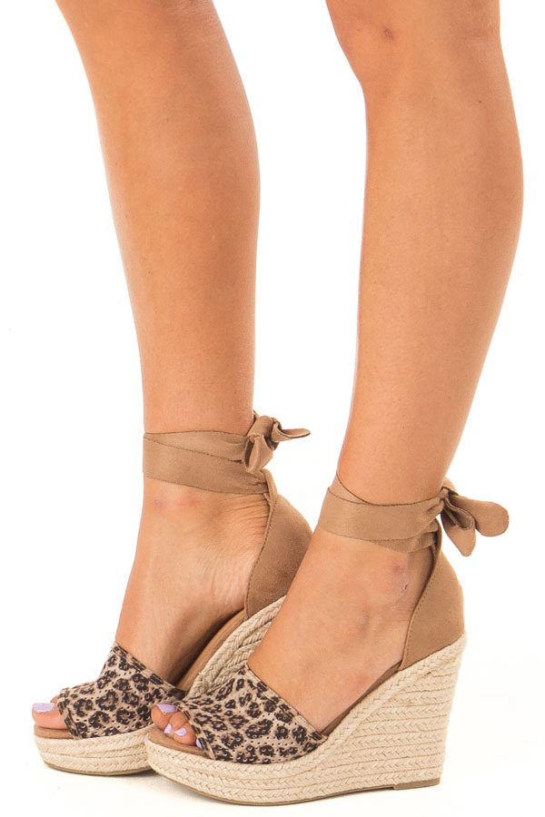 Sepia Leopard Print Suede Wedge with Braided Heel Detail side view