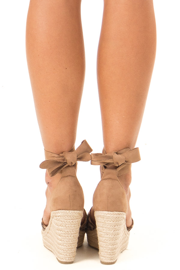 Sepia Leopard Print Suede Wedge with Braided Heel Detail back view