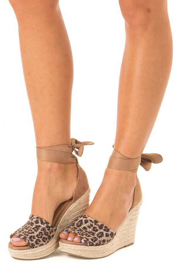 Sepia Leopard Print Suede Wedge with Braided Heel Detail front side view
