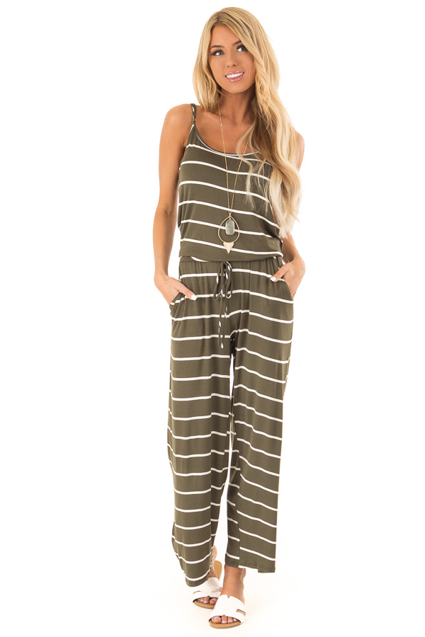 Olive Striped Spaghetti Strap Jumpsuit with Waist Tie front full body
