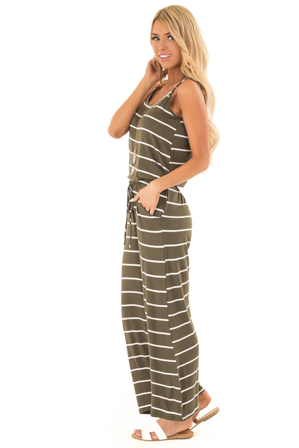 Olive Striped Spaghetti Strap Jumpsuit with Waist Tie side full body