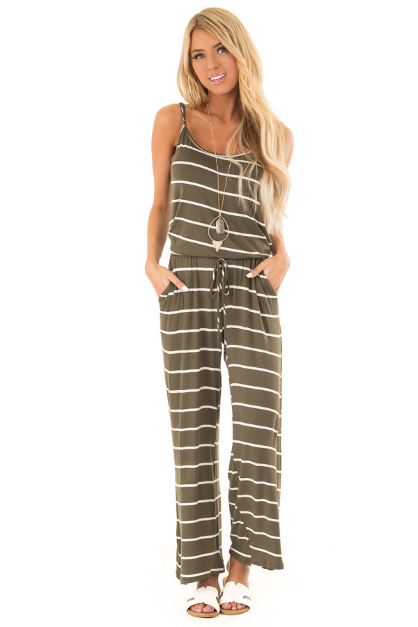 Olive Striped Spaghetti Strap Jumpsuit with Waist Tie front close up