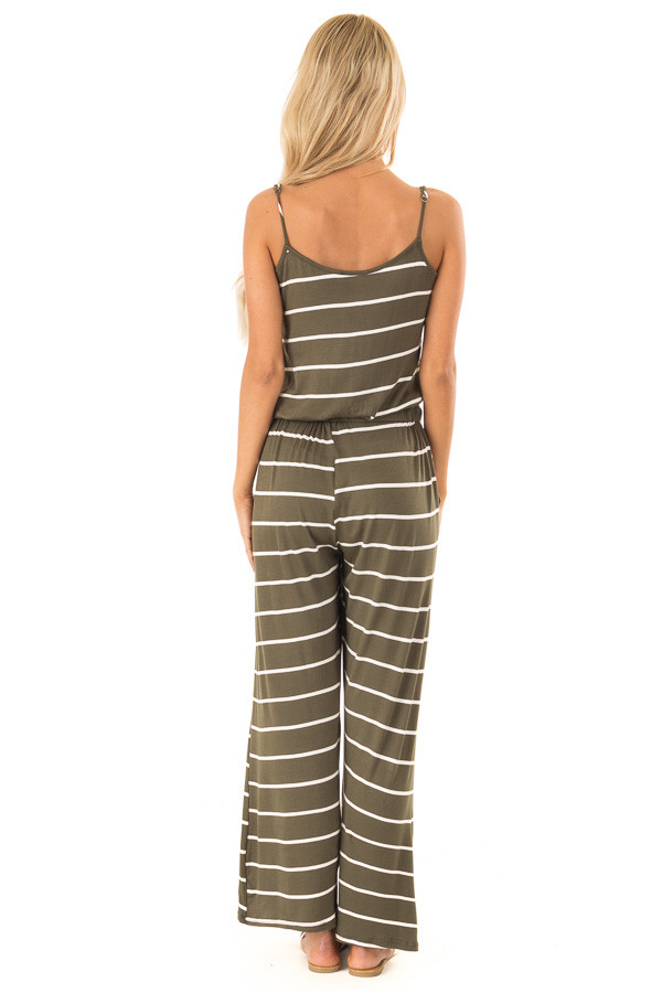 Olive Striped Spaghetti Strap Jumpsuit with Waist Tie back full body