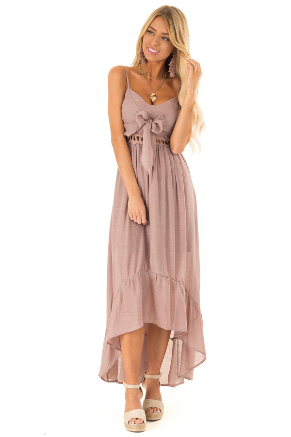 Rose Smoke High Low Dress with Cutout Detail and Front Tie front close up