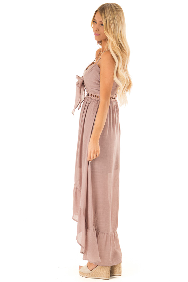 Rose Smoke High Low Dress with Cutout Detail and Front Tie side full body