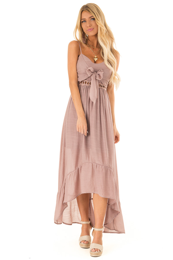 Rose Smoke High Low Dress with Cutout Detail and Front Tie front full body