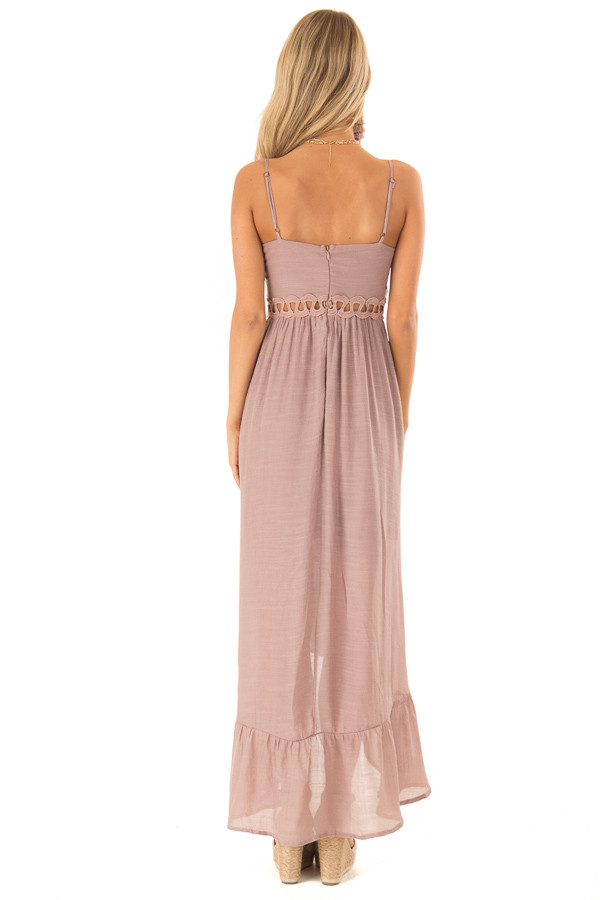 Rose Smoke High Low Dress with Cutout Detail and Front Tie back full body