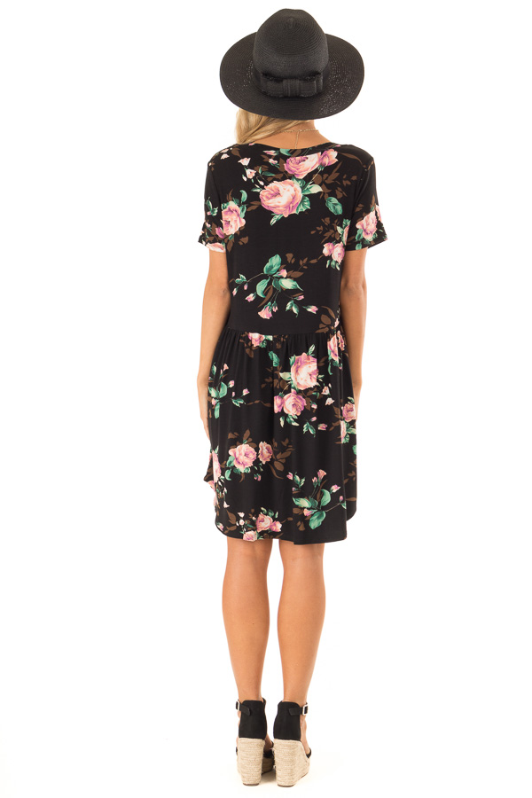 Midnight Black Floral Print Dress with Short Sleeves back full body