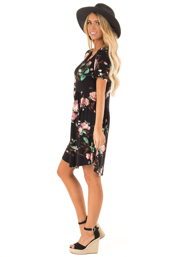 Midnight Black Floral Print Dress with Short Sleeves side full body