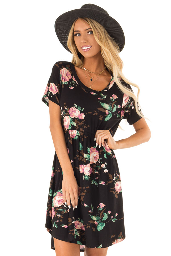 Midnight Black Floral Print Dress with Short Sleeves front close up