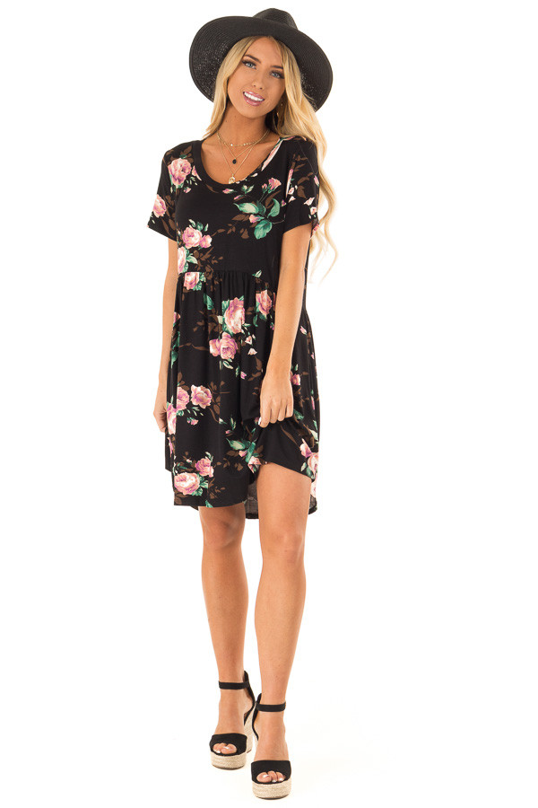 Midnight Black Floral Print Dress with Short Sleeves front full body