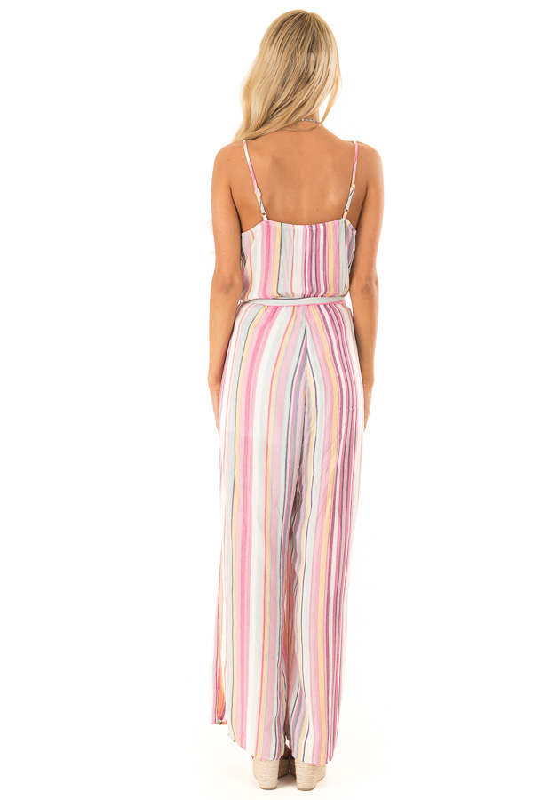 Magenta and Off White Striped Jumpsuit with Waist Tie Detail back full body