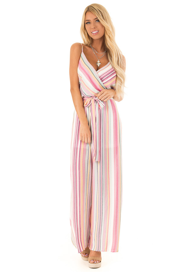 Magenta and Off White Striped Jumpsuit with Waist Tie Detail front full body