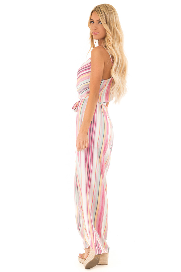Magenta and Off White Striped Jumpsuit with Waist Tie Detail side full body