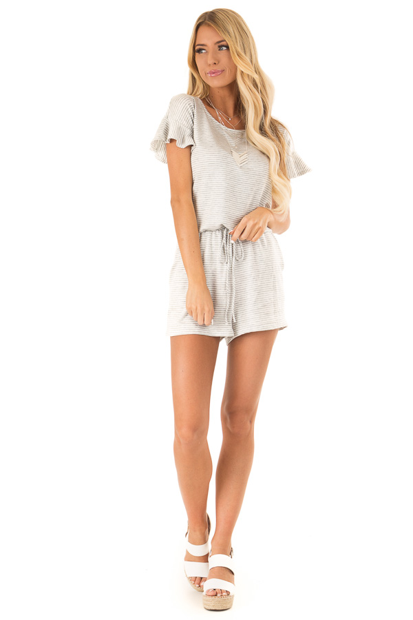 Heather Grey Striped Romper with Waist Tie and Pockets front full body