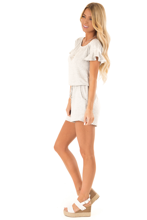 Heather Grey Striped Romper with Waist Tie and Pockets side full body