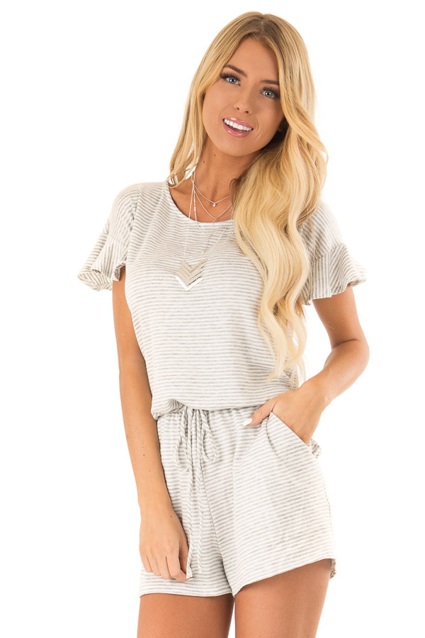 Heather Grey Striped Romper with Waist Tie and Pockets front close up